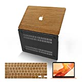 MacBook Air 13 Inch Case (Model:A1369 & A1466, Older Version 2010-2017 Release), Anban Ultra-Slim Wooden Hard Corner Protective Cover with Keyboard Cover Compatible Mac Air 13 Inch, Teak