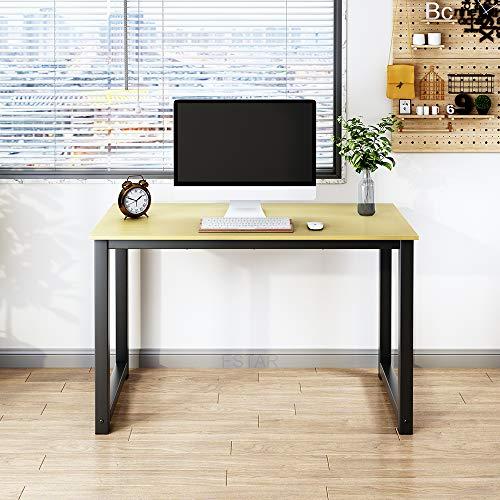 Escritorio de computadora de 47 pulgadas, diseño simple y moderno, mesa de escritura, para oficina en casa, oficina, gran espacio de trabajo, roble, marco de metal (47 pulgadas, roble)