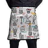 Delantal de Medio Cuerpo de Cactus Tropical Dibujado a Mano con Bolsillos Unisex para Cocina Restaurante Barbacoa
