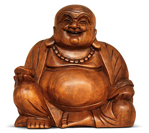 G6 COLLECTION 8' Wooden Laughing Happy Buddha Statue Hand Carved Smiling Sitting Sculpture Handmade Figurine Decorative Home Decor Accent Rustic Handcrafted Art Decoration Happy Buddha (Small)