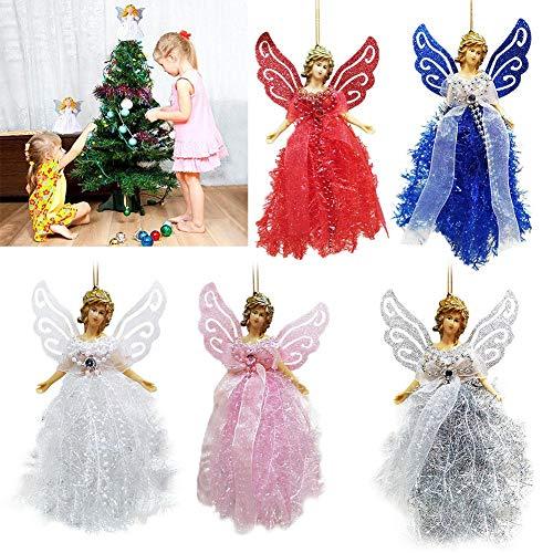Riverry Decoraciones del Árbol De Navidad Colgante, Mini del Ángel con Las Alas De Plata para Las Decoraciones De Navidad De Navidad Ornamento De Reyes Kind
