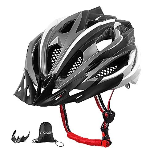 X-TIGER Casco da Bici,Ultraleggero Stabile Strada Montagna da Uomo Donna Ciclismo Casco di Bicicletta Casco Adulto Visiera Casco di Protezione Certificata CE (Bianca)