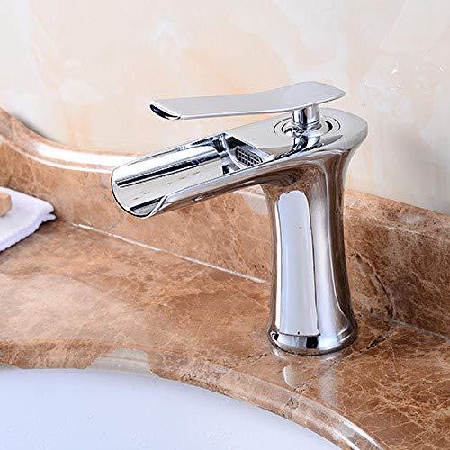 NGRJG Grifo de Cocina Fontanería de baño Grifo de cobre para agua fría y caliente grifo de lavabo grifo de cascada frío y caliente abrevadero de cobre lavabo de cobre caliente y frío chapado c