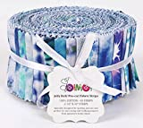 Soimoi 40Pcs Tie & Dye Print Thread Telef De Algodón Para Tiras De Artesanía De Acolchado 2.5 X 42 Pulgadas Rollo De Jalea - Azul-Pa