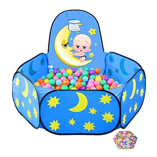 ZPLHX Playpen Hexagon Baby Playpen con colchón, niños pequeños con aro de Baloncesto, Anti-Rollover Blue Child Play Cerca para mamá y bebé (Color : -, Size : -)
