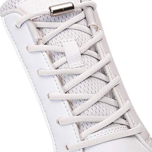 SULPO Elastische Schnürsenkel ohne Binden - Elastisch, mit Metall-Verschluss (Weiß)