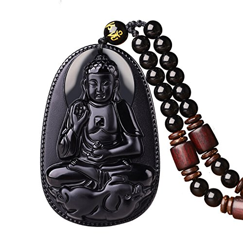 c1lint1 100% Pure Obsidian Natural Pendant Necklace Zodiac Bodhisattva Amulet Talisman Men or Women