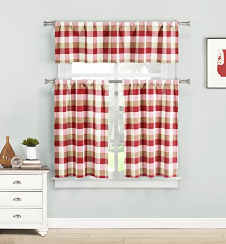 Home Maison Kingsville Plaid Gingham Checkered Kitchen 3 Piece Window Curtain Tier & Valance Set, 2 29 x 36 & One 58 x 15, Red