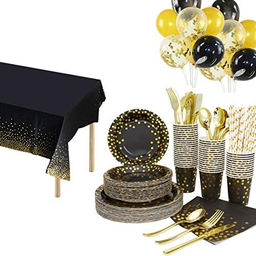 251pcs Disposable Tableware Set for 25 Guests Black Gold Party Cutlery Set Includes Dinner Plate product image