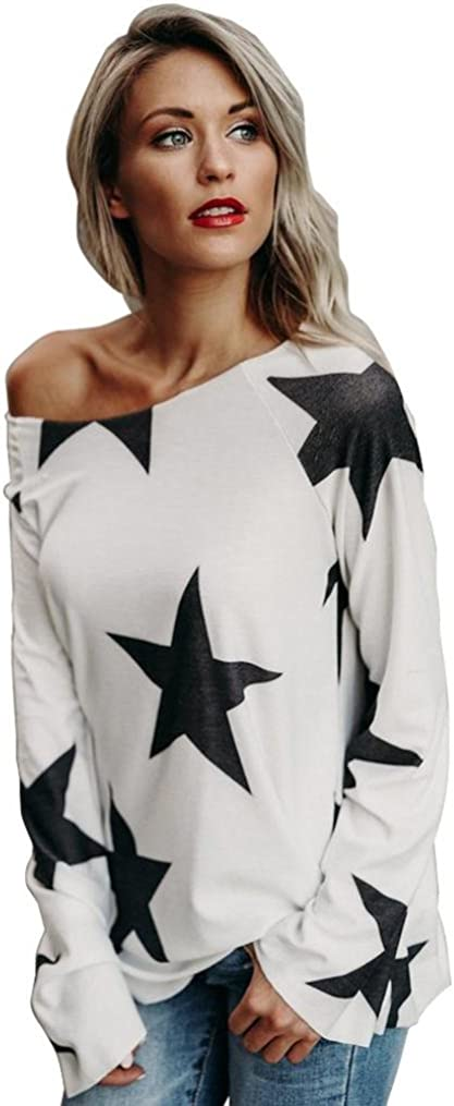 2018 Women Girl Strapless Star Sweatshirt Long Sleeve Crop Jumper Pullover Tops by Topunder (White, Small)