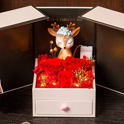 ZLF Caja Regalo Rosa roja Flor eterna con decoración Cervatillo Resina, Mini cajón pulsador, Caja Anillos, Caja de Pendiente, luz de Noche LED, Regalo romántico de Flores duraderas, Hebilla magnética