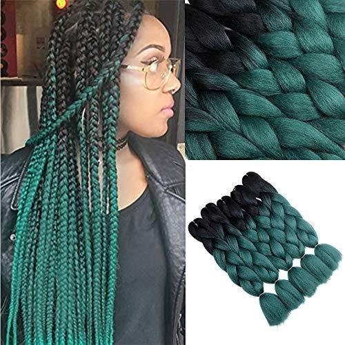 YMHPRIDE Ombre Kanekalon Geflochtene Haare 61 cm 5Stk. 100g 2-farbige synthetische geflochtene Haare(schwarz Dunkelgrün)