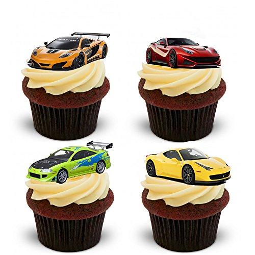 12 Supercar/Fast Car essbare Kuchendekorationen