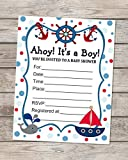 Nautical Baby Shower Invitations, Fill In Blank Invitations, Flat Cards Set Of 20, Sailboat And Baby Whale Nautical Baby Shower Invites With Envelopes, 4.25' x 5.5'
