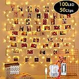Guirlande Lumineuse 100 LEDS avec Télécommande, 10M Nouveau Décoration Anniversaire Led Blanc Chaud Etanche IP65 50 Clips Photos 8 Modes, Decoration pour Fête, Jardin, Noël, Mariage(USB/Batterie)