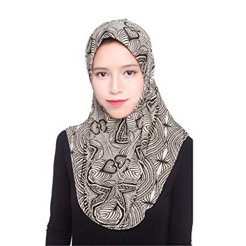 Deloito Muslim Eisseide Hijab Schal Damen Mode Elegant Kopftuch Hüte Islamischer Volldeckung Turban Wickelschal (Kaffee)