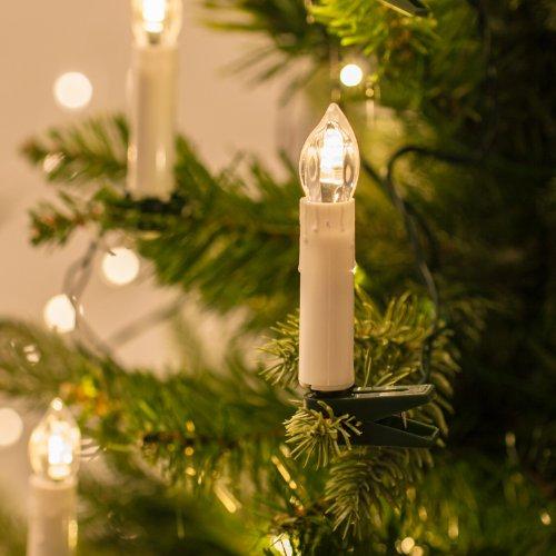 Lights4fun Guirlande Lumineuse de Noël avec 50 Bougies Crèmes LED Blanc Chaud à Pince pour Sapin