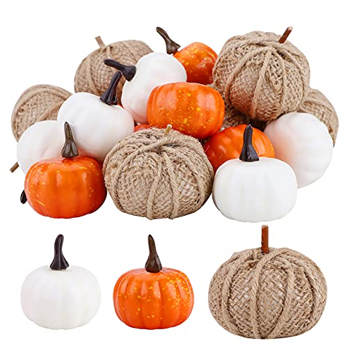 Calabazas artificiales, 22 piezas surtidas de mini calabazas, naranja, blanco, calabaza, cosecha...