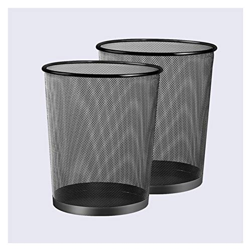 Garbage Bin for Kitchen, Office, Home Round Mesh Wastebasket Recycling Bin Wrought Iron Hollow Trash Can Household Metal without Cover Waste Basket for Office Bathroom Living Room Silent and Gentle Op