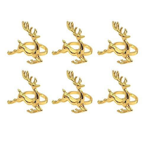 Margueras Anello per legare il tovagliolo, motivo: cervi di Natale, 6 pezzi, colore oro, decorazione per hotel, tavolo da serata, da matrimonio