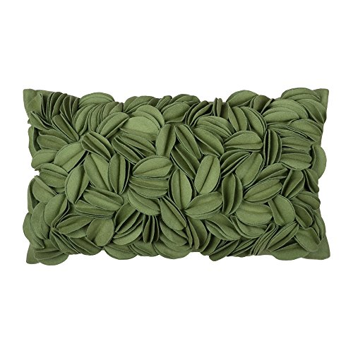 King Rose Decorative Handmade 3D Floral Decorative Throw Pillow Case Wool Cushion Covers for Sofa Couch Chair 12 x 20 Inches Green