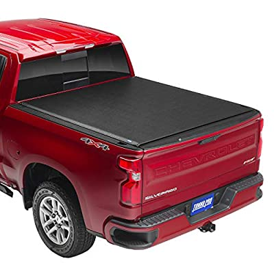 "Tonno Pro Lo Roll, Soft Roll-up Truck Bed Tonneau Cover | LR-1045 | Fits 2014-18, 19 Ltd./Lgcy GMC Sierra & Chevrolet Silverado 1500 /2500/3500 6'6"" Bed (78.8""), Black"