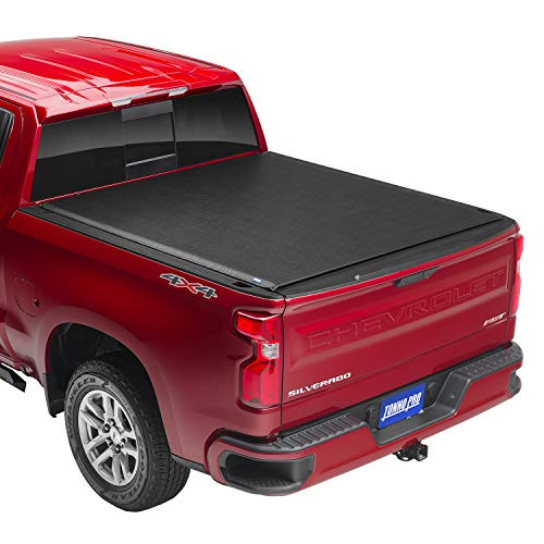"Tonno Pro Lo Roll, Soft Roll-up Truck Bed Tonneau Cover | LR-1045 | Fits 2014-18, 19 Ltd./Lgcy GMC Sierra & Chevrolet Silverado 1500 /2500/3500 6'6"" Bed (78.8""), Black"