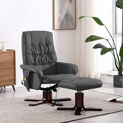 UnfadeMemory Sillon Masaje Reclinable con Reposapiés,Sillon Relax de Salón,con USB y Mando a Distancia,Cuero Sintético,71x71x103cm (Gris)