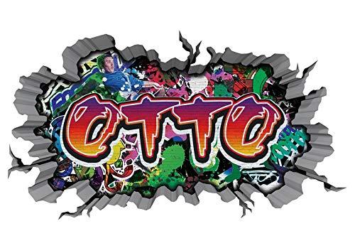 3D Wandtattoo Graffiti Wand Aufkleber Name OTTO Wanddurchbruch sticker Boy selbstklebend Wandsticker Jungenddeko Kinderzimmer 11MD954, Wandbild Größe F:ca. 162cmx97cm