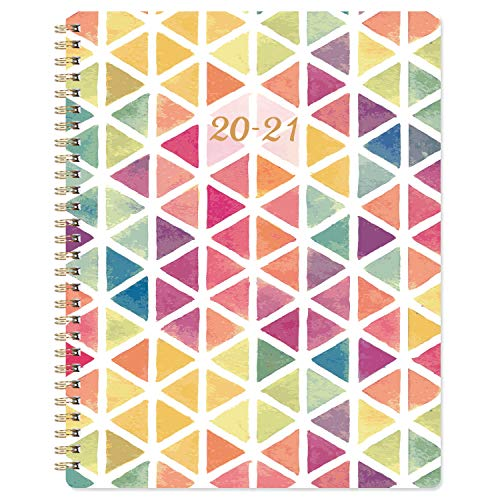 2020-2021 Planner - Academic Weekly & Monthly Planner with Marked Tabs, 8' x 9.7', Thick Paper + Contacts + Calendar + Holidays, July 2020 - June 2021, Twin-Wire Binding - Watercolor Triangle