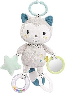 FEHN 057102 Aktivitetskatt med ring/motorik leksak för att hänga med spännande berlocker att greppa och göra ljud för späd...