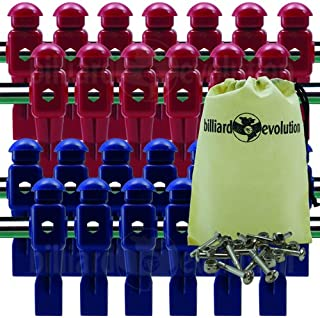 Billiard Evolution 26 Red and Blue Dynamo Foosball Men with Free Screws & Nuts Drawstring Bag