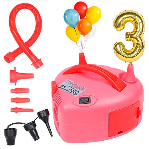 Golray Electric Air Balloon Pump 7 Nozzles Inflator Blower for Party Decorations, Foil Balloons, Swim Rings Inflatable Toys Compression Bag, 110V 600W