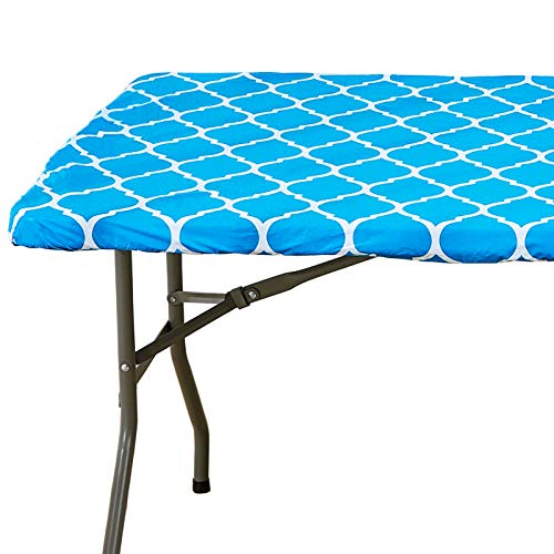 4 ft Sky Blue Moroccan Rectangular Fitted Plastic Table Cover, Waterproof Elastic Edge Vinyl Tablecloth with Flannel Backing, Fits 24 x 48 Inch Picnic Folding Table for Outdoor/Indoor/Travel/Party