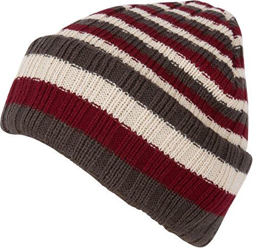 Sakkas CADK1520 - Nixon Unisex Ribbed Stripe Beanie Cap - 1-Bourgogne - OS