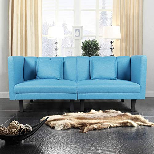 DKLGG Futon Sofa Bed, Modern Linen Fabric Tufted Convertible Sectional Sofa Couch, for Living Room(Fine Linen,Blue)
