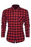 Coofandy Camisa a Cuadros para Hombre Manga Larga Talla Grande Rojo y Azul XXL