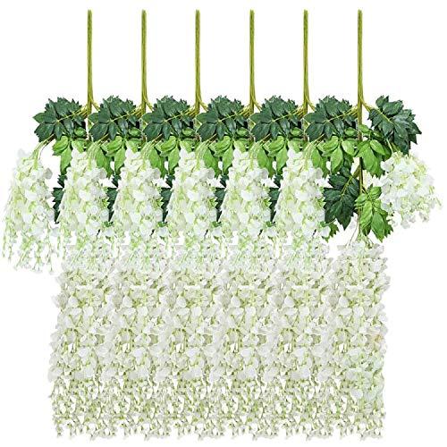 New rui cheng Plantas Artificiales Colgantes, Hojas Artificiales Flor de Glicina Blanca Paquete de 12 Plantas Colgantes de Vid Falsa Guirnalda Hojas Verdes Planta de Plástico Falso Decoración de Pared