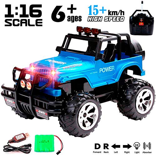 Remote Control Monster Truck 4WD Off Road Rock Crawler Vehicle 2.4 GHz All Terrain Big Foot Jeep RC Vehicle 1:16 Scale Rechargeable RC Toy Car with Lights and Sounds for Kids Boys Girls