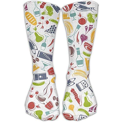 yantaiyu-sock Calcetines Personalizados Patrón De Alimentos Impresión Unisex Ocio Calcetines Deportivos Cómodos