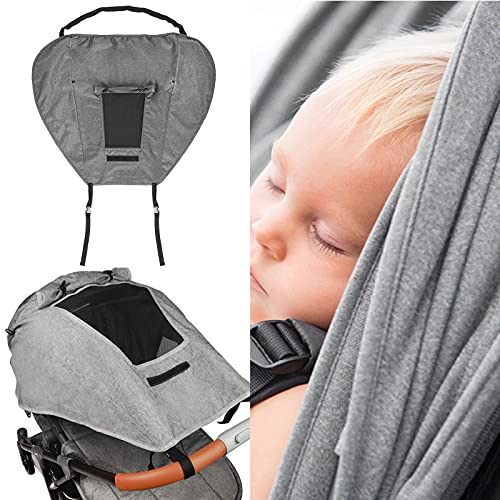 KEDUY BUGGY SUN SHADE UNIVERSAL PRAM SUNSHADE SUN COVER FOR STROLLERS PUSHCHAIRS UV PROTECTION WATER RESISTANT EASY TO INSTALL (GREY)