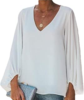 HTOOHTOOH Women Oversized Lantern Sleeve Blouse Tops Casual Loose V Neck Shirts Pullover