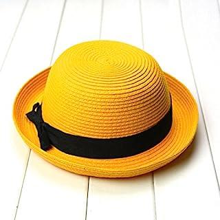 LIOOBO Fashion Women's Girls Bowknot Roll-up Wide Brim Dome Straw Summer Sun Hat Bowler Beach Cap (Yellow)