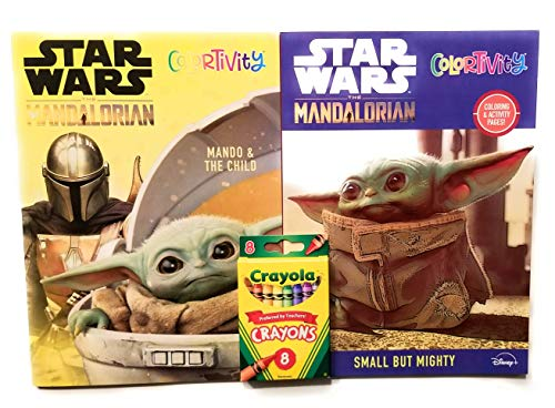 Star Wars The Child Mandalorian Activity Books Bundle - Includes 2 Books | Crayola Crayons 8 pk | Puzzles | Cut Outs | Coloring | Mazes | Educational