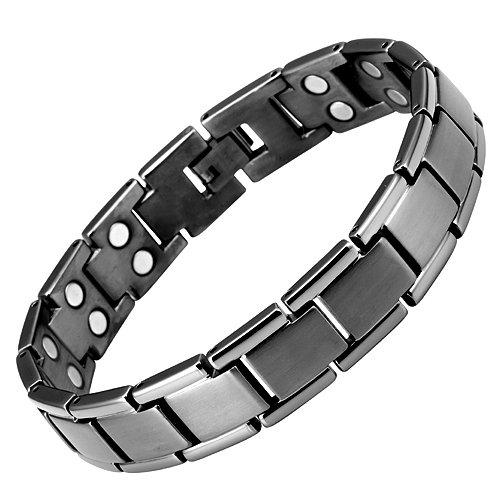 Willis Judd Stilvolles Magnetschmuck Armband Titan hochwirksame 3000-Gauss-Magneten 22cm Länge individuell zu Hause anpassbar Magnetarmband Magnettherapie hypoallergen Gesundheitsarmband Gelenkschmerzen Arthritis Geschenkidee