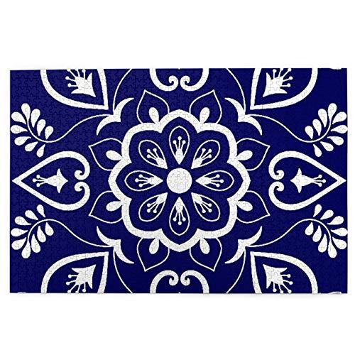 KIMDFACE Rompecabezas Puzzle 1000 Piezas,Azulejos Adornos Motivos Florales Azules Y Blancos,Puzzle Educa Inteligencia Jigsaw Puzzles para Niños Adultos