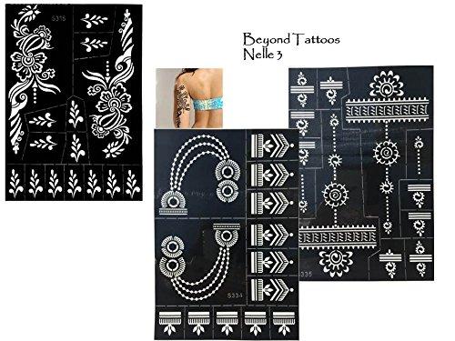 3Sheets Tattoo Plantillas de plantillas Henna Diseños para pintura corporal Nelle 3