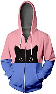 Beishi Women Men Hooded Sweatshirt, Cat Print Long Sleeve T-Shirt Colour Block Tops, Unisex Zipper Hoodie Coat