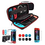 TOSTAR Carrying Case for Nintendo Switch 4 in 1 Bundle Accessories Kit with Carrying Case, Ultra Thin Screen Protector(2 Packs),Dockable Lightweight PC Case, Joystick Caps(8 Packs)