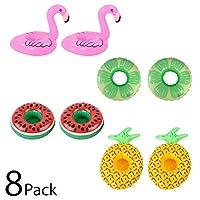 (POMAIKAI) ドリンクホルダー 浮き輪 カップホルダー パーティー 水遊び おもちゃ (フラミンゴ+フルーツ 8個)